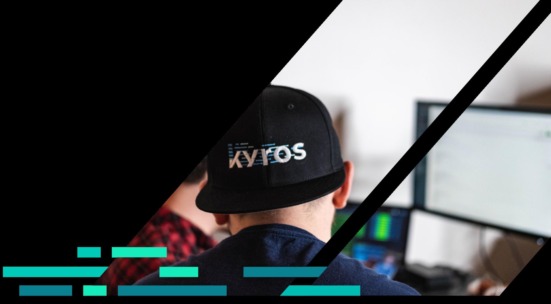 Back of someone wearing a Kyros Digital Custom Software Development hat